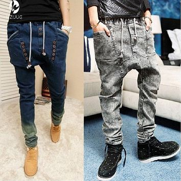 2017 HZIJUE male HIPHOP Low Drop crotch jogger FOR men denim Jeans hip hop  dance baggy trousers pantalon Homme harem pants
