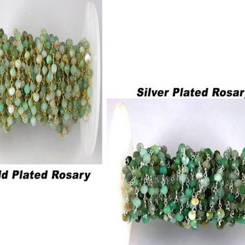 Chrysoprase MicroFaceted 3.5-4mm 24k Gold & Sterling Silver Plated Rosary Beaded Chain,Wire Wrapped Chain, Linking Chain, WholeSale Chain