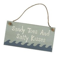 Sandy Toes and Salty Kisses - Decorative Beach Pool Sign with Waves