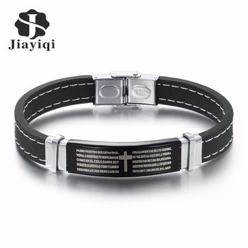 Jiayiqi 2016 Punk Bracelet Bible Cross Silver Color Titanium Stainless Steel Silicone Cuff Leather Bracelet Bangle Men Jewelry