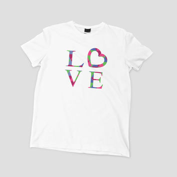 Love T Shirt - FREE shipping to USA american apparel love heart love word art love tee polyester top soft t shirt word shirts typography