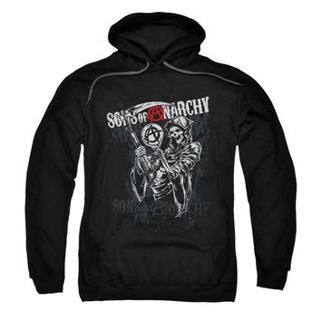 Sons Of Anarchy Men's  Reaper Logo Hooded Sweatshirt Black Rockabilia