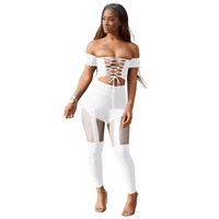 Lace-up Off Shoulder Crop Top and Mesh Insert Pants
