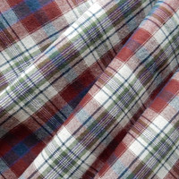 Multiplaid Tartan Cotton Flannel Suiting Fabric Off White/Burgundy/Green HALF YARD (45 cm)