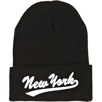 River Island Womens Black New York embroidery beanie hat