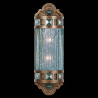 Fine Art Lamps 711150-3ST Scheherazade Two-Light Wall Sconce in Aged Dark Bronze Finish with Hand Blown Glass in Vibrant Desert Sky Blue Color