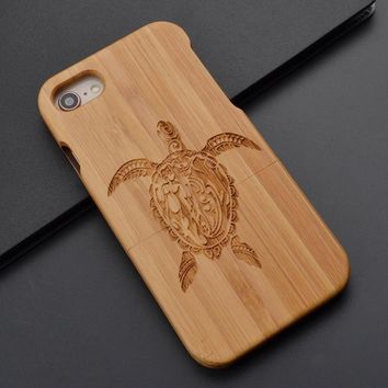 Sea Turtle Samsung 7 7 Eage iPhone 8 X 7 7 Plus 6  6s Plus 5 5s Case Wooden Phone Case Cover Natural Wood