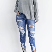 Something To Do Medium Blue Heavy Destroyed Ankle Cutout Skinny Jeans