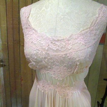 Vintage Nightgown Vanity Fair Pink Lace 50s Long by funkomavintage