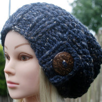 Hand Knit Hat- Women's Hat- Navy Blue Denim tweed- Rustic Mega chunky hat with big coconut button- slouchy- Beanie- Women accessories