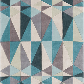 Cosmopolitan Collection Area Rug in Teal Blue, Dark Taupe, and Parchment design by Surya