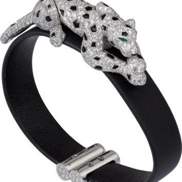 Panth¨¨re de Cartier bracelet: Bracelet, 18K white gold, black toile de moire, set with
