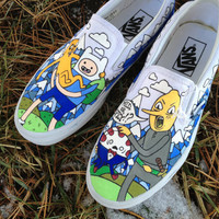 vans adventure time hand painted shoes  by InSensDen on Etsy