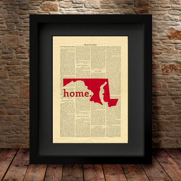 Maryland, Maryland State, Maryland State Map, Art Print, Dictionary Print, Home Decor, Wall Decor, Art Print, Dictionary State Print -27M