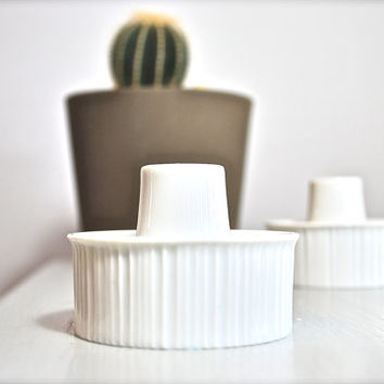 Mid-Century Tapio Wirkkala White Porcelain Modulation Candle Holders