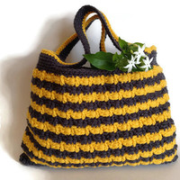 SALE - Grey yellow mustard tote, free shipping, crochet purse, bag, handmade ready to ship