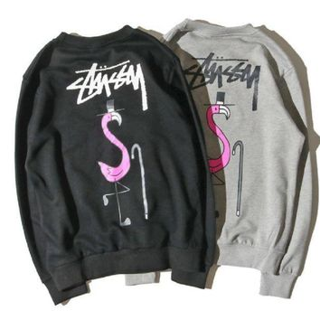 ESBIH3 stu flamingo terry material crew neck sweater men and women with the thin section