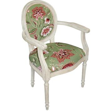 123Creations C909GWAC Green Jacobean Floral Needlepoint Armchair
