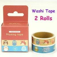 flower Owl tape Cartoon Owl washi tape cute owl sticker tape colorful owl paper tape kawaii pet Washi tape fancy animal tape owl Masking