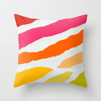 Ripped Torn Tattered Paper Gradient Bold Rainbow Colors Throw Pillow by AEJ Design
