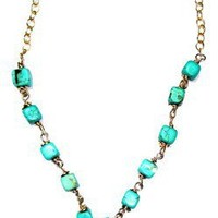 Turquoise Beaded gold filled necklace accentuated by round gold filled