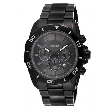 Momentus FS318B-05SB Men's Functional Sport Dark Grey Dial Chrono Black IP Steel Bracelet Watch