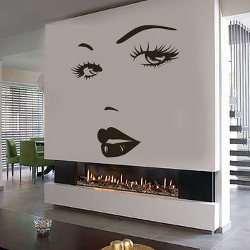 Eyes Wall Sticker Vinyl Decal Beauty Salon Woman Face Lips  Girl Room (ig3642)