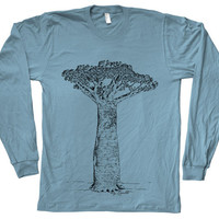 Mens Unisex Baobab Tree Little Prince Tshirt Hand Screen Print American Apparel Crew Neck Long Sleeve tshirt Available: S, M, L, XL, XXL