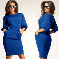 3 Colors New Womens Half Sleeve Female Work Wear Clothing Knee-Length Sheath Casual Office Slim Dresses
