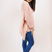 easy going asymmetrical sweater - coral