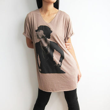 Coco Chanel Shirt French Fashion Chanel Designer Brown V Neck Shirts Women T-Shirt Size M