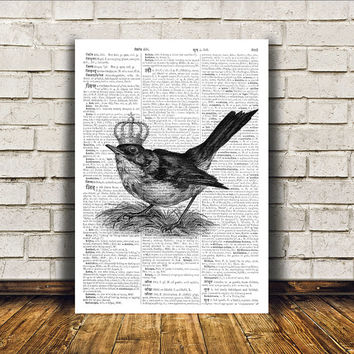 Bird art Wall decor Dictionary print Cute poster RTA187