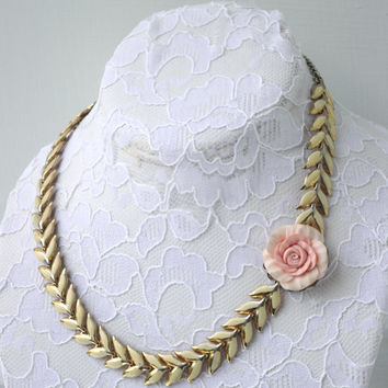 vintage repurposed upcycled OOAK necklace cream leaf enamel assemblage dusty pink rose shabby bridesmaid bridal flower floral resin choker