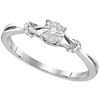 Sterling Silver Womens Round Diamond Heart Love Bridal Wedding Engagement Ring 1/10 Cttw 110770