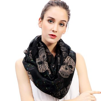 Women's Sugar Skull Print Scarf Infinity Loop Snood Scarves