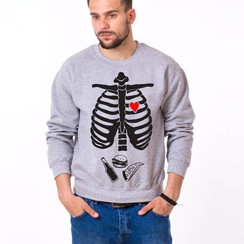 Halloween sweater, skeleton sweater, beer sweater, halloween sweater 50/50% Cotton/Polyester Crewneck, UNISEX
