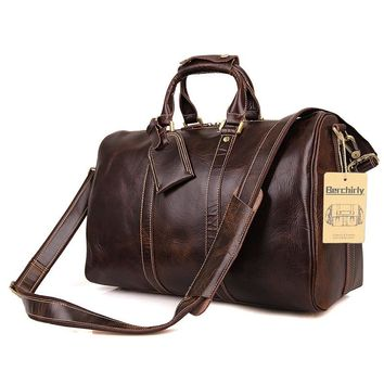 Vintage Crazy Horse Genuine Leather Travel bag Men Duffel Bag Luggage Travel Bag Large Men Leather Duffle Bag Weekend Tote Big