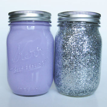Light Purple and Silver Glitter Mason Jar Set, Painted Mason Jars, Dorm Room Decor, Wedding Decor