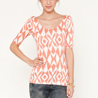 Kirra Print Fitted Elbow Sleeve Tee at PacSun.com