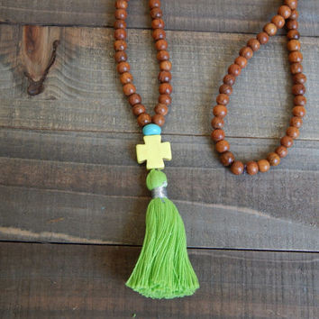 Long tassel necklace, brown wood beads, bohemian style, beach boho, summer, yellow, wood beads, hippie style, cross, green