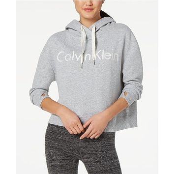 Calvin Klein Performance Logo Boxy Cropped Hoodie