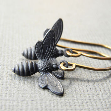 Handmade Bumble Bee Earrings | Small Honey Bee Charm Earrings