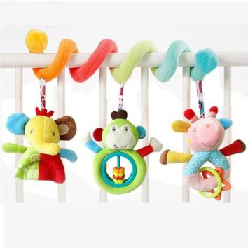 ONETOW New Infanty Newborn Baby Rattles Toys 0-12 month baby cute soft animal hanging bed safety seat plush doll mobiles Puppet