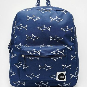 THEWHITEPEPPER Shark Print Backpack