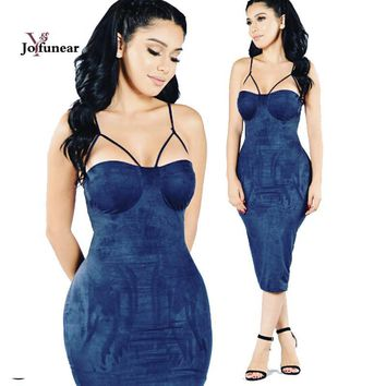 Sexy women Wrap chest with chest pad Sleeveless  Party Dress vestidos de festa  Women  Midi Dresses Tight  Suede Bodycon Dress