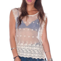 Poncho Villa Laced Top in Off White :: tobi
