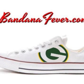 "Converse Low White ""Green Bay Packers"" - Football Fans Gift - NFL Green Bay Packers - Packers Football, by Bandana Fever"