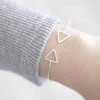 Double Triangle Bangle, Triangle Bangle, Triangle Bracelet, Open Cuff Bracelet, Open Cuff Bangle, Minimal Bangle, Delicate Bangle