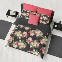 Dark Floral Pattern Duvet Cover or Comforter, Pink Rose Blossoms on black bedding, modern romantic beautiful, bedroom decor