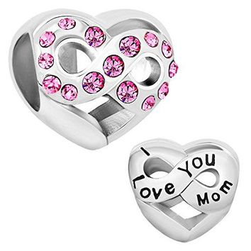 LovelyJewelry I Love You Mom Heart Infinity Charms Pink Birthstone Crystal Beads Bracelet